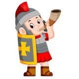 Cuerno romano de la guerra del soplo del soldado stock de ilustración