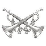 Cuernos de la caballería stock de ilustración