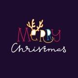 Cuernos de los ciervos cornamentas Texto del dibujo de la mano para la Feliz Navidad Tarjeta de felicitación Lette ilustración del vector