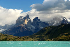 Cuernos Del Paine. Stunning Cuernos del Paine in southern Chile stock photos