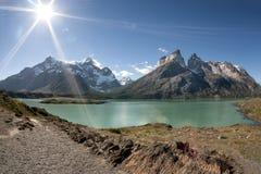 Cuernos del Paine en el parque nacional de Torres del Paine Fotografía de archivo