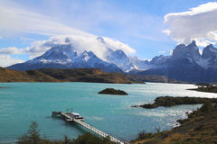 The Cuernos del Paine Horns of Paine and Lake Pehoe in Torres del Paine National Park. Patagonia, Chile stock photography