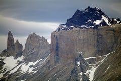 Cuernos del Paine i den Torres del Paine nationalparken, Magallanes region, sydliga Chile Arkivbild