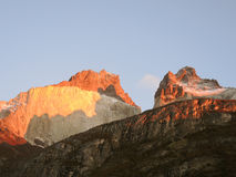 Cuernos del Paine landscape. Peaks at dawn Royalty Free Stock Photo