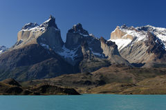 Cuernos del Paine massif from Lake Pehoe. Los Cuernos massif in Torrel del Paine national park, Chile Stock Photos