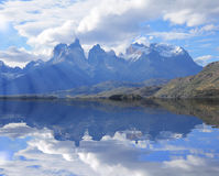 Cuernos del Paine mountains. Torres del Paine National park. Southern Patagonia Chile royalty free stock photography