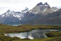 Cuernos del Paine nel parco nazionale di Torres del Paine, regione del Magallanes, Cile del sud Fotografia Stock Libera da Diritti
