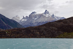 Cuernos del paine from Pehoe lake. Torres del paine. Chile Royalty Free Stock Photography