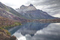 Cuernos del paine reflected at the lake. In Torres del Paine, Chile Royalty Free Stock Photo