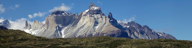 Cuernos del Paine and Torres del Paine view from Lake Pehoe in Torres del Paine National Park, Magallanes Region, southern Chile stock photo