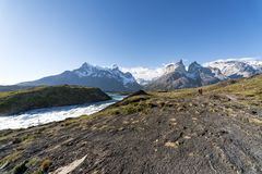 Cuernos del Paine in Torres Del Paine National Park. Torres Del Paine National Park is a national park encompassing mountains, glaciers, lakes, and rivers in royalty free stock photos