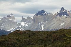 Cuernos del Paine and Torres del Paine in Torres del Paine National Park, Magallanes Region, southern Chile. Cuernos del Paine and Torres del Paine with typical stock images