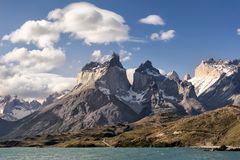Cuernos del Paine in Torres Del Paine National Park. Torres Del Paine National Park is a national park encompassing mountains, glaciers, lakes, and rivers in Royalty Free Stock Photography