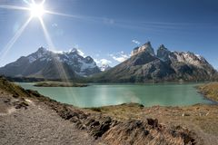 Cuernos del Paine in Torres Del Paine National Park stock photography