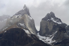 Cuernos del Paine. Twin peaks royalty free stock photography