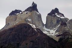 Cuernos del Paine in Torres del Paine National Park, Magallanes Region, southern Chile. Cuernos del Paine from the viewpoint in Torres del Paine National Park in stock photos