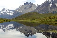 Cuernos del Paine in Torres del Paine National Park, Magallanes Region, southern Chile. Cuernos del Paine which are reflected in the lake in Torres del Paine royalty free stock photography