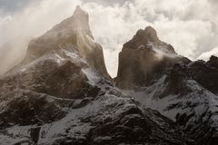 The Cuernos moutains in Torres Del Paine in Patagonia. The Cuernos mountains in Torres del Paine Patagonia in Chile, South America stock image