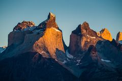 Cuernos Towers during sunrise. Torres del Paine National Park, Chile royalty free stock images