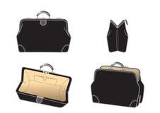 Cuero-bolso negro Imagen de archivo libre de regalías