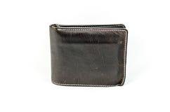 Cuero marrón oscuro de cuero de la cartera en un fondo blanco Fotografía de archivo