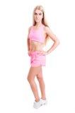 Cuerpo completo del instructor femenino delgado de la aptitud Fotos de archivo libres de regalías