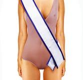 Cuerpo de la mujer y cinta del concurso de belleza Imagenes de archivo