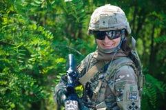 Cuerpo del Marines de los militares de la muchacha Foto de archivo