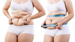 Cuerpo del ` s de la mujer antes y después de la pérdida de peso Imagen de archivo