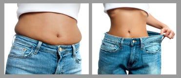 Cuerpo del ` s de la mujer antes y después de la pérdida de peso Adiete el concepto Imágenes de archivo libres de regalías