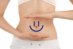 Cuerpo delgado de la mujer joven con smiley feliz Imágenes de archivo libres de regalías