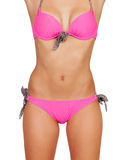 Cuerpo femenino atractivo con traje de baño rosado Imagen de archivo