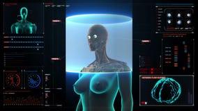 Cuerpo femenino delantero de enfoque y sistema de exploración de los ojos humanos en tablero de instrumentos del indicador digita stock de ilustración