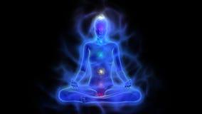 Cuerpo humano de la energía, aureola, chakras en la meditación ilustración del vector