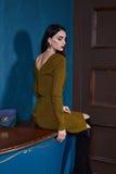 Cuerpo perfecto de la mujer del negocio del vestido flaco moreno atractivo del estilo Foto de archivo libre de regalías