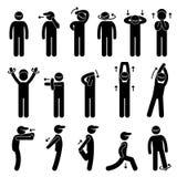 Cuerpo que estira la figura pictograma Ic del palillo del ejercicio Fotografía de archivo