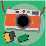 Cuerpo retro de la plata de la cámara de la película con cuero anaranjado Fotos de archivo libres de regalías