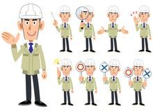 Cuerpo superior de un hombre que lleva un casco y trabajar la ropa 9 sistemas de las expresiones faciales y de los gestos 1 ilustración del vector