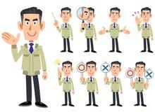 Cuerpo superior de un hombre que lleva un workwear 9 sistemas de las expresiones faciales y de los gestos 2 stock de ilustración
