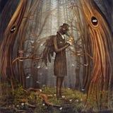 Cuervo en bosque Foto de archivo libre de regalías