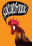 Cuervo del gallo con el texto del baloon stock de ilustración