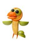 Cuervo divertido hecho de frutas jugosas Fotografía de archivo libre de regalías