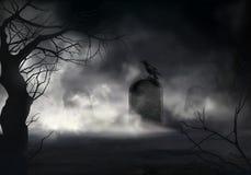 Cuervo en la lápida mortuaria en el viejo vector del cementerio ilustración del vector
