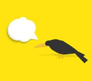 Cuervo negro con la burbuja del discurso Foto de archivo