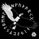 Cuervo negro que vuela y runas escandinavas antiguas imagen de archivo