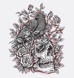 Cuervo, rosas y Linework incompletos del diseño del tatuaje del cráneo ilustración del vector