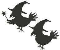 Cuervo Silouhettes del mago de Víspera de Todos los Santos Imagen de archivo libre de regalías