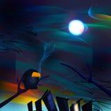 Cuervo solo en noche del invierno ilustración del vector