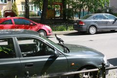 Cuervo y coches en la calle en Petersburgo foto de archivo libre de regalías