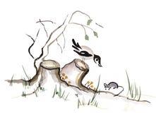 Cuervo y ratón ilustración del vector